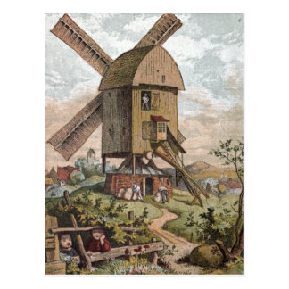 Vintage Drawing: The Old Mill Postcard