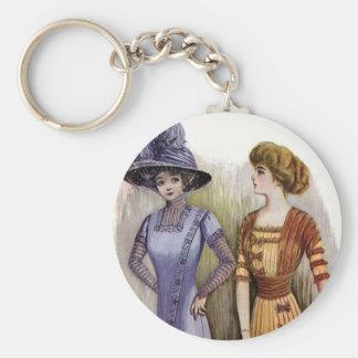 Vintage Dresses Basic Round Button Keychain