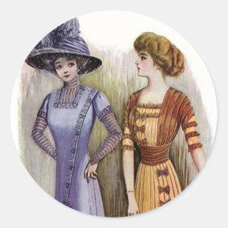 Vintage Dresses Round Sticker