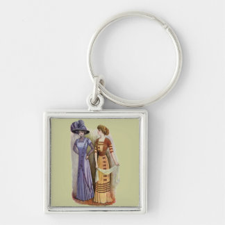 Vintage Dresses Silver-Colored Square Keychain