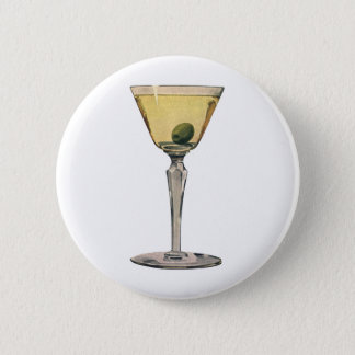 Vintage Drinks Beverages, Martini Olive Cocktail 2 Inch Round Button