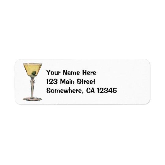 Vintage Drinks Beverages, Martini Olive Cocktail Return Address Label