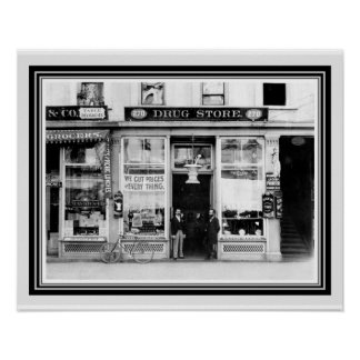 Vintage Drug Store B&W Photo/ Poster 16 x 20