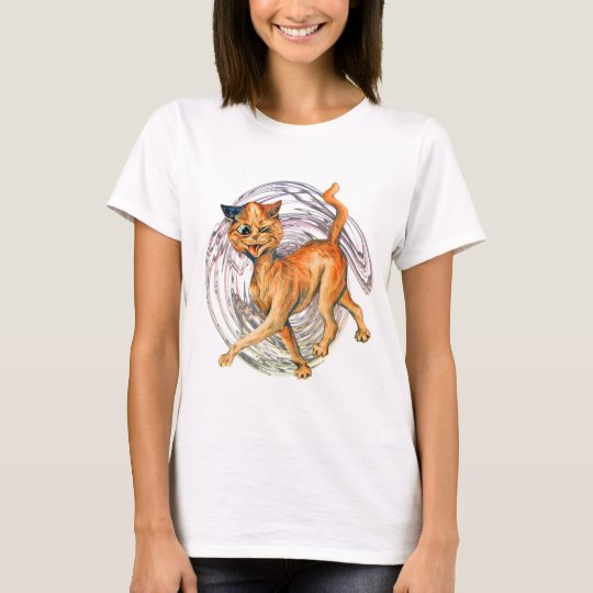 Vintage Drunk Cat Wain Art T-Shirt