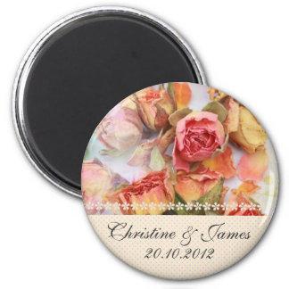 Vintage dry roses wedding magnet