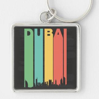 Vintage Dubai Cityscape Silver-Colored Square Keychain