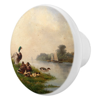 Vintage Ducks Birds Pond Wildlife Animals Knob