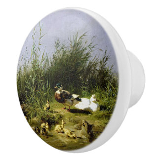 Vintage Ducks Birds Pond Wildlife Ducklings Knob