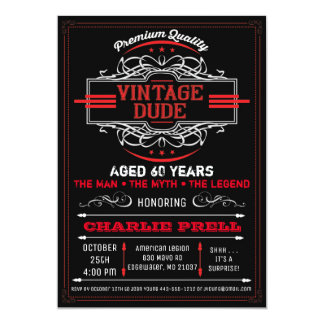 Vintage Dude Birthday Man Myth Legend Invitation