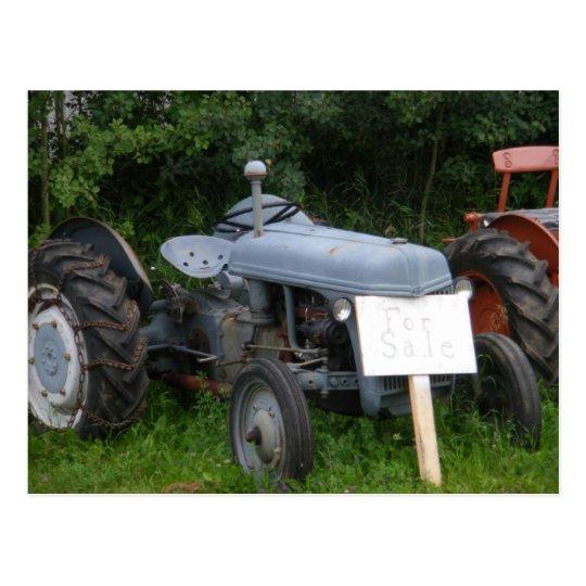 Vintage Dusky Blue Tractor Postcard
