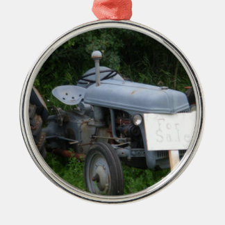 Vintage Dusky Blue Tractor Silver-Colored Round Ornament