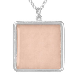 Vintage Dusty Peach Parchment Template Blank Silver Plated Necklace