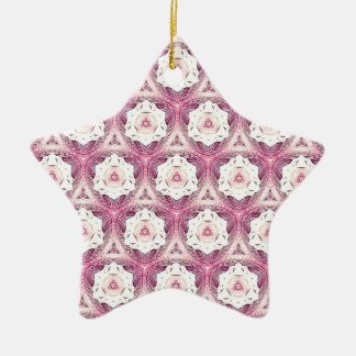Vintage Dusty Rose Shade Modern Pattern Ceramic Star Ornament