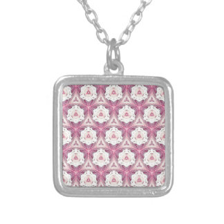 Vintage Dusty Rose Shade Modern Pattern Silver Plated Necklace