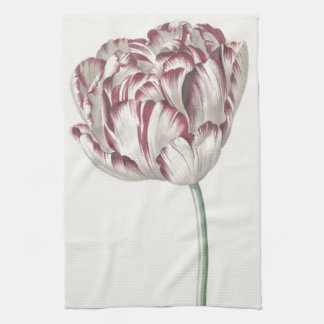 Vintage Dutch Art: White and Red Tulip Kitchen Towel