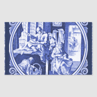 Vintage Dutch Blue Delft tile design