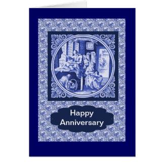 Vintage Dutch Blue Delft tile design Card