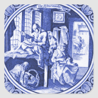 Vintage Dutch Blue Delft tile design Square Sticker