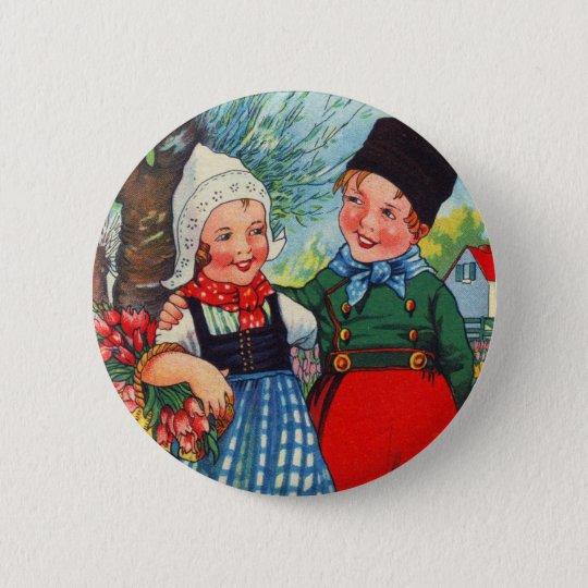 Vintage Dutch Children hartelijk gefeliciteerd 2 Inch Round Button