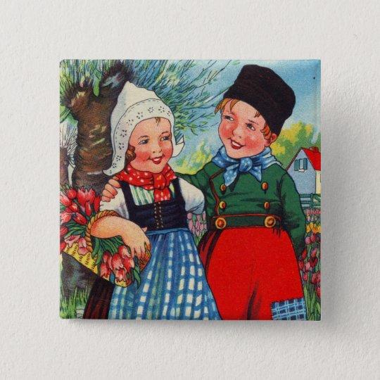 Vintage Dutch Children hartelijk gefeliciteerd 2 Inch Square Button