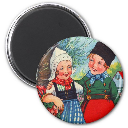 Vintage Dutch Children hartelijk gefeliciteerd Magnet