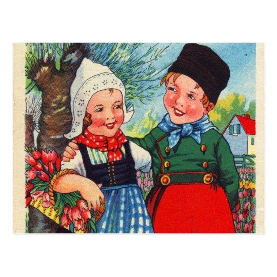 Vintage Dutch Children hartelijk gefeliciteerd Postcard