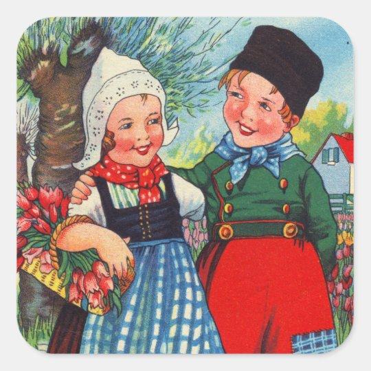 Vintage Dutch Children hartelijk gefeliciteerd Square Sticker