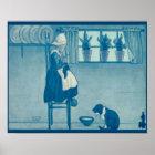 Vintage Dutch design, 1905 Girl knitting, cat Poster