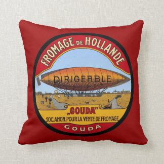 Vintage Dutch Gouda ad Dirigable Throw Pillow