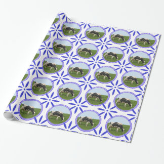 Vintage Dutch Tiles Delftware Cow Holland Wrapping Paper