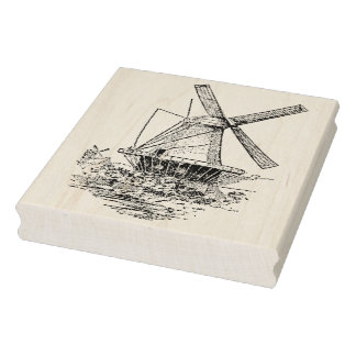 Vintage Dutch Windmill Rubber Art Stamp