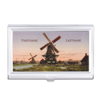 Vintage Dutch Windmills business card holder