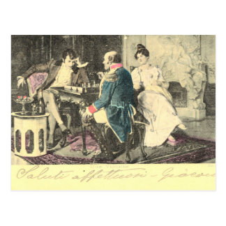 Vintage, Early French postcard, Napoleon Chess Postcard