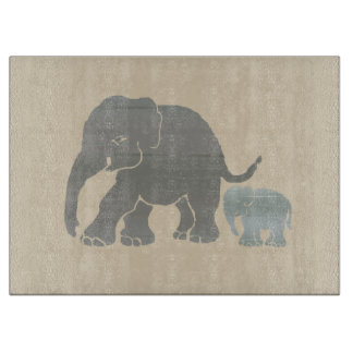 Vintage Earth Color Graphic Elephant Mom and Child Cutting Board