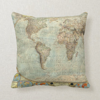Vintage Earth Globe Map Print Throw Pillow