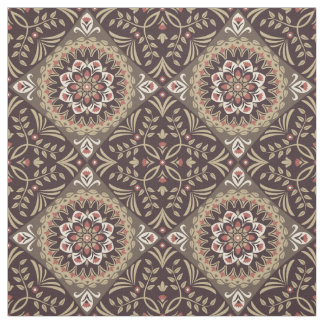 "Vintage earth tones cotton fabric 28"" × 18"""