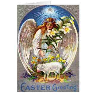 Vintage Easter Angel and Lamb Card