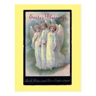 Vintage Easter Blessings Angels Postcard