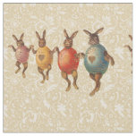 Vintage Easter Bunnies Dancing with Egg Costumes Fabric