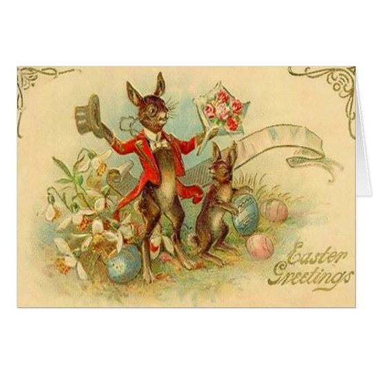 Vintage Easter Bunnies Easter Card