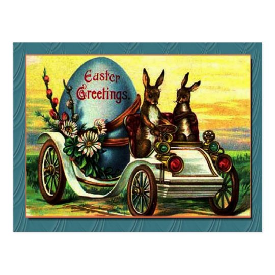 VINTAGE EASTER BUNNIES IN BUGGY TEMPLATE POSTCARD