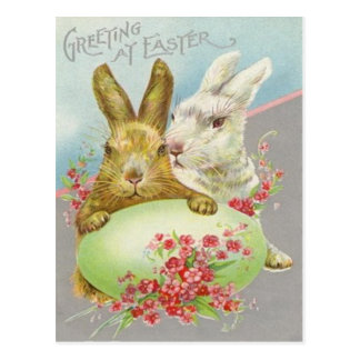 Vintage Easter Bunnies With Easter Egg Easter Card Post Card
