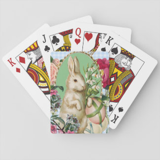 Vintage Easter Bunny and Eggs Collage Playing Cards