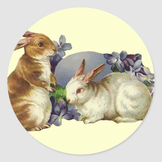 Vintage Easter Bunny Classic Round Sticker