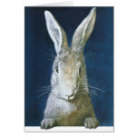 Vintage Easter Bunny, Cute Furry White Rabbit Greeting Card