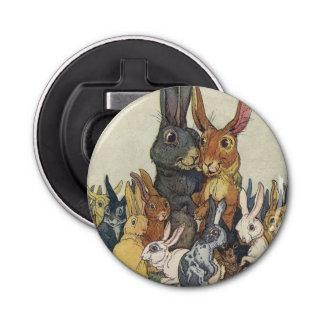 Vintage Easter bunny family Button Bottle Opener