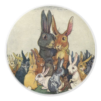 Vintage Easter bunny family Ceramic Knob
