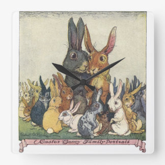 Vintage Easter bunny family Clock