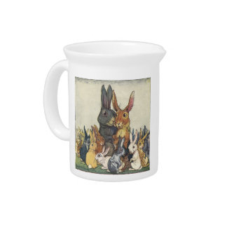 Vintage Easter bunny family Drink Pitchers