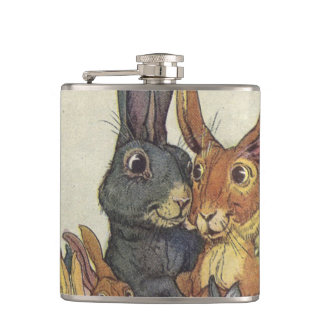 Vintage Easter bunny family Hip Flask